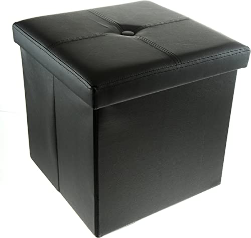 Unity Signature Foldable Storage Ottoman, 15 Inch – Strong Sturdy – Space Saving – Premium Faux Leather Black