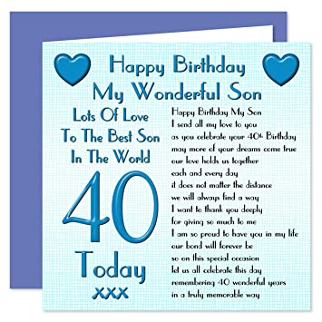 Son 40th Happy Birthday Card
