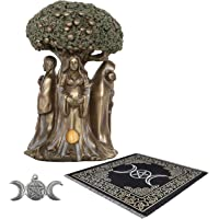 Sarimoire Altar Tarot Cloth Goddess Statue Tree of Life 5.5 in Cold Cast Bronze Statue Wicca Supplies Triple Moon…