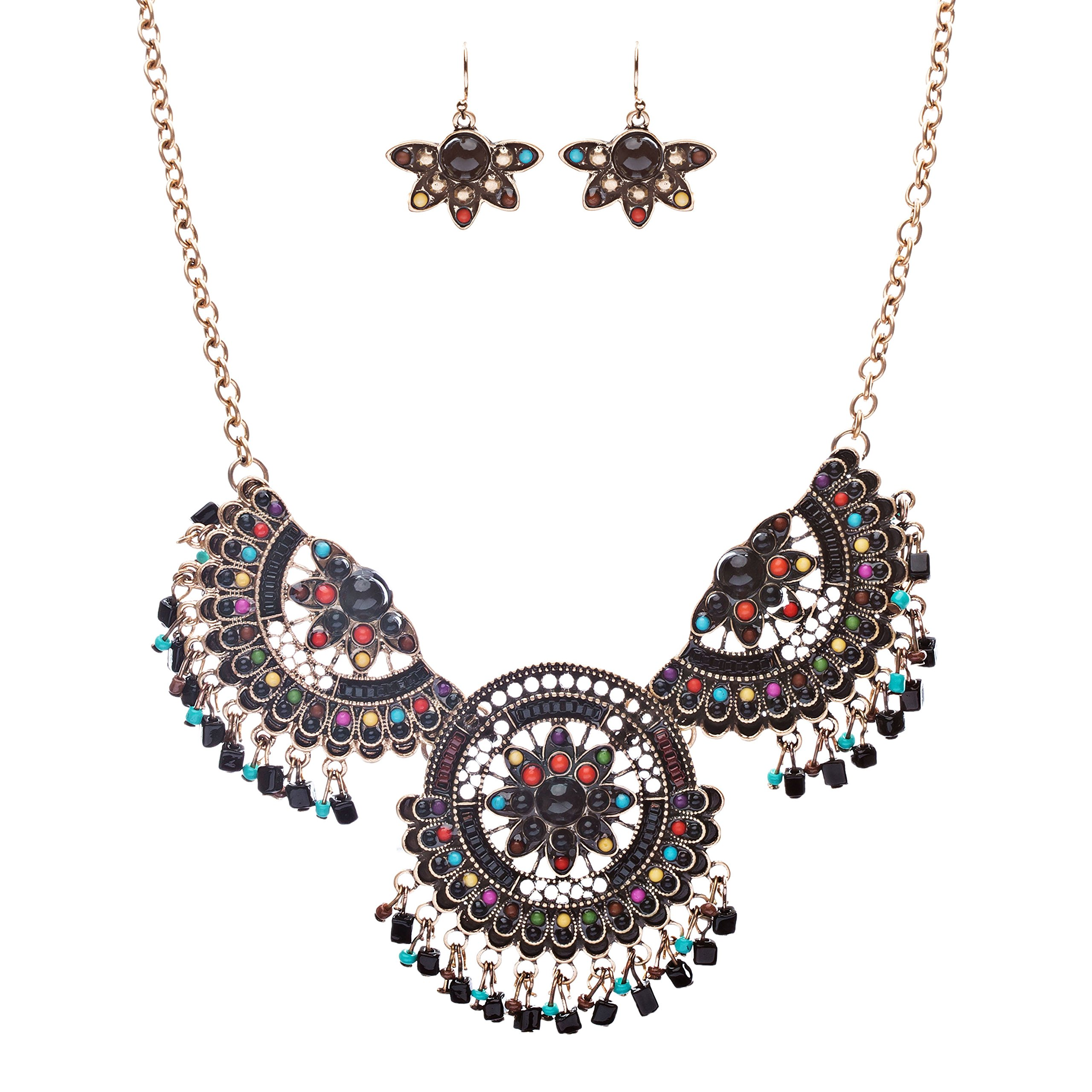 State-Of-The-Art Meticulous Dream Catcher Design Charm Necklace Set JN227 Black