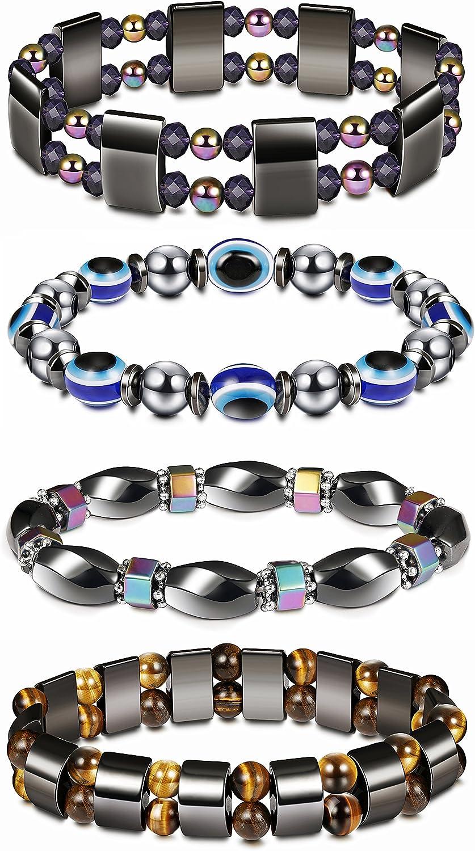 Thunaraz 4Pcs Hematite Bracelet for Men Women Bangle Bracelet Magnetic Tiger Eye Bracelets