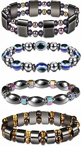 Milacolato Bracelet magn/étique de th/érapie de Bracelet d/énergie de Cheville de Pierre de 4PCS Hematite pour des Femmes