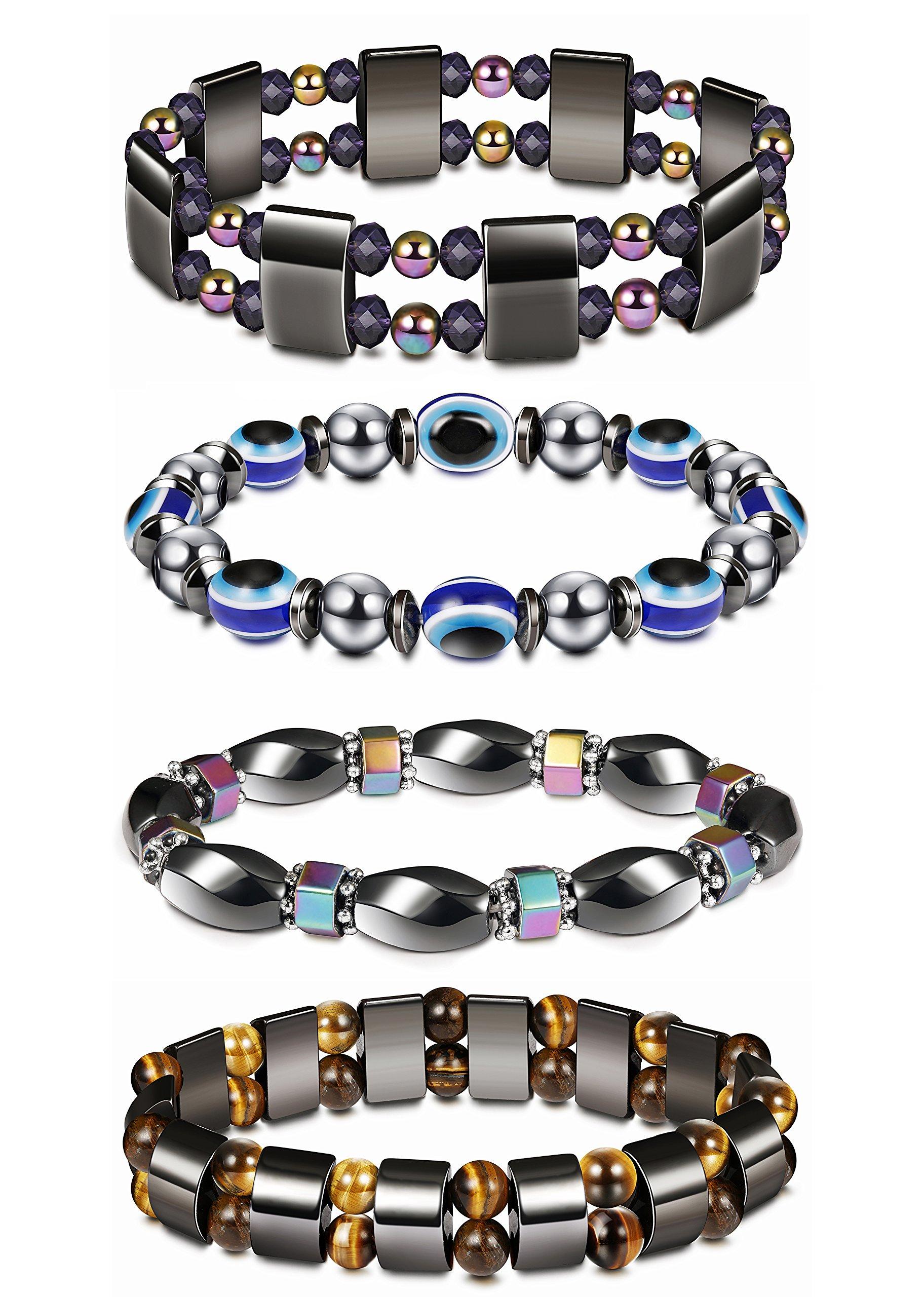 Thunaraz 4Pcs Hematite Bracelet for Men Women Reiki Healing Bangle Bracelet Energy Magnetic Tiger Eye Therapy Bracelets