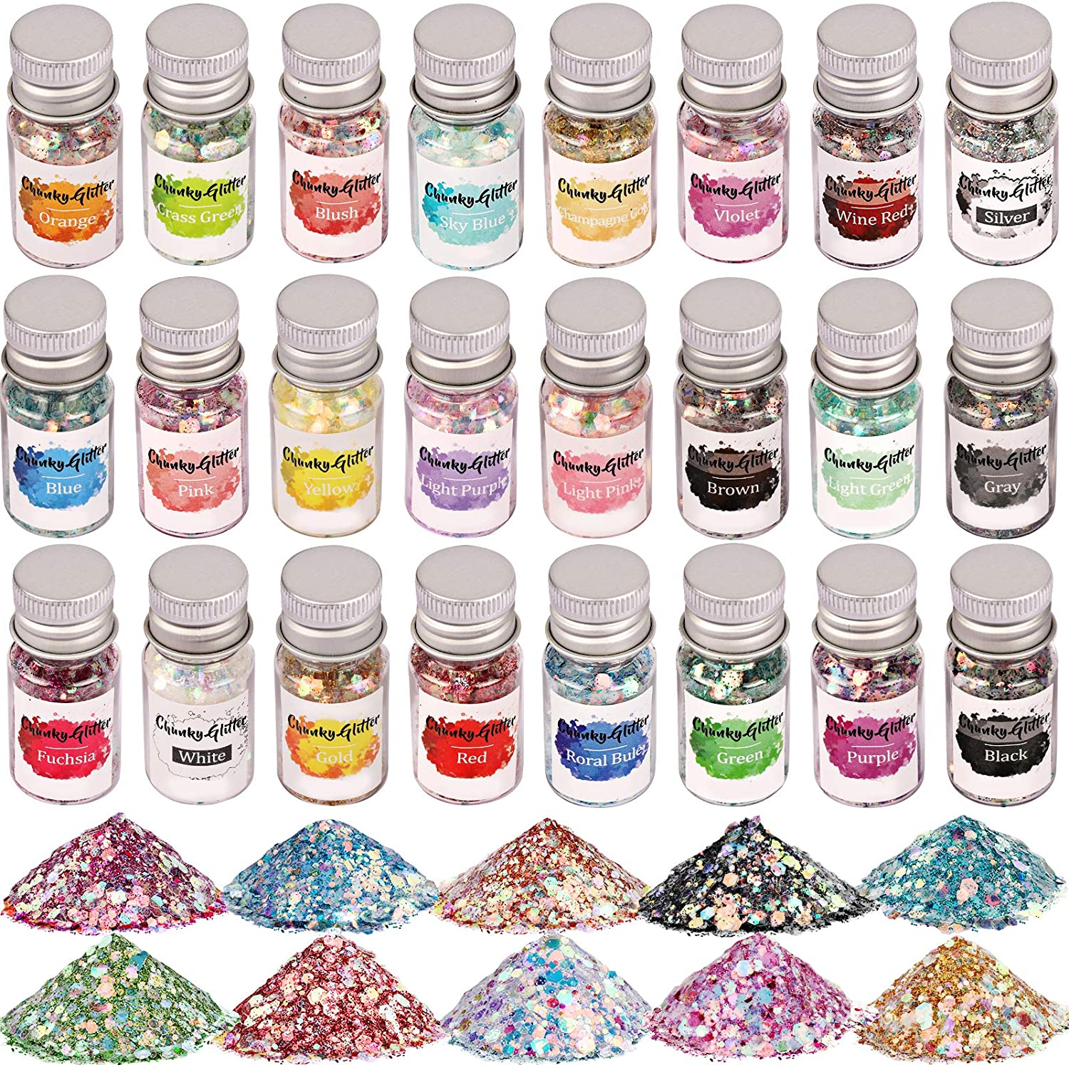 Opal Chunky Glitter, Set of 24, LEOBRO Holographic Craft Glitter for Resin Art Crafts, Cosmetic Glitter for Nail Body Face Eye, Iridescent Sparkle Sequin Flake Glitter for Slime Jewelry Making