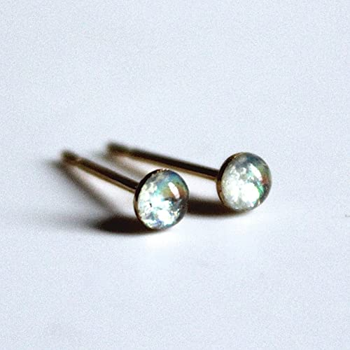 7ff802f9b Image Unavailable. Image not available for. Color: 3mm Opalescent Grey Stud  Earrings ...