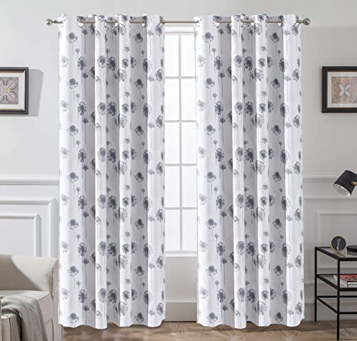 DriftAway Dandelion Floral Botanic Lined Thermal Insulated Blackout Room Darkening Grommet Energy Saving Window Curtains 2 Layers 2 Panels Each Size 52 Inch by 84 Inch Gray