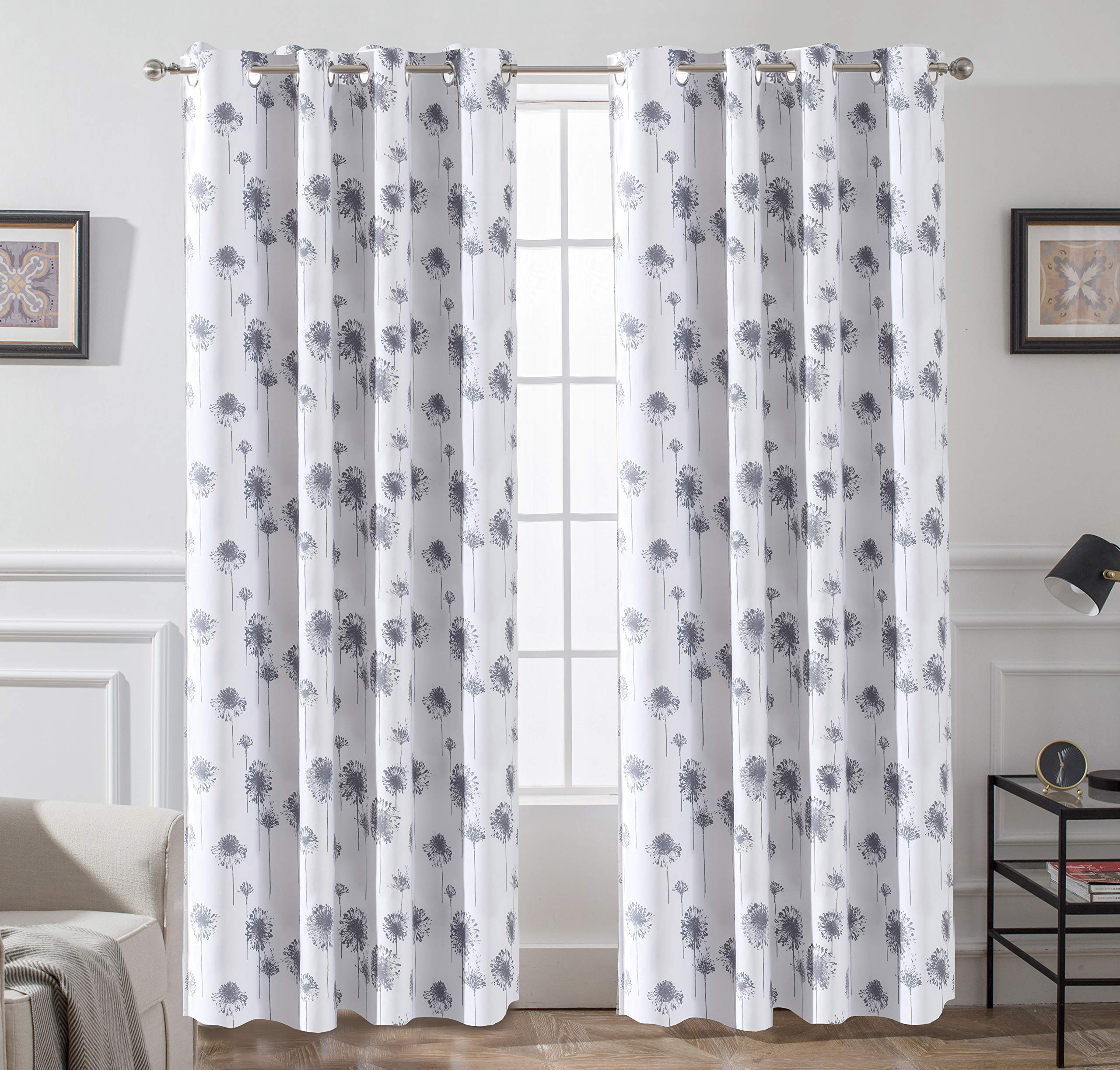 DriftAway Dandelion Floral Botanic Lined Thermal Insulated Blackout Room Darkening Grommet Energy Saving Window Curtains 2 Layers 2 Panels Each Size 52 Inch by 84 Inch Gray by DriftAway