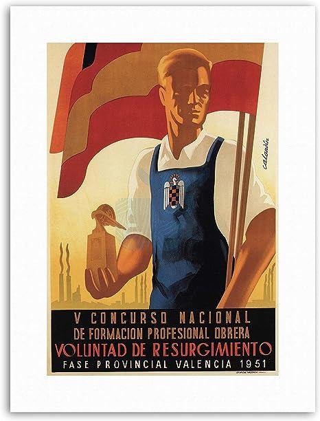 Bandera de España fascista Franco trabajo tren lienzo Art Prints: Amazon.es: Hogar