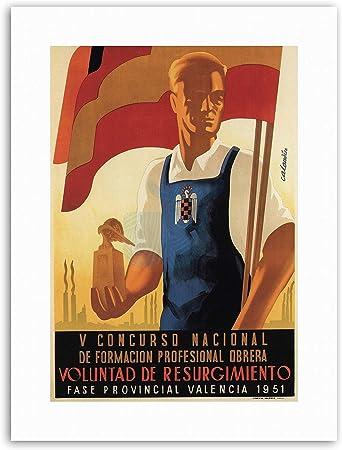 Bandera de España fascista Franco trabajo tren lienzo Art Prints ...