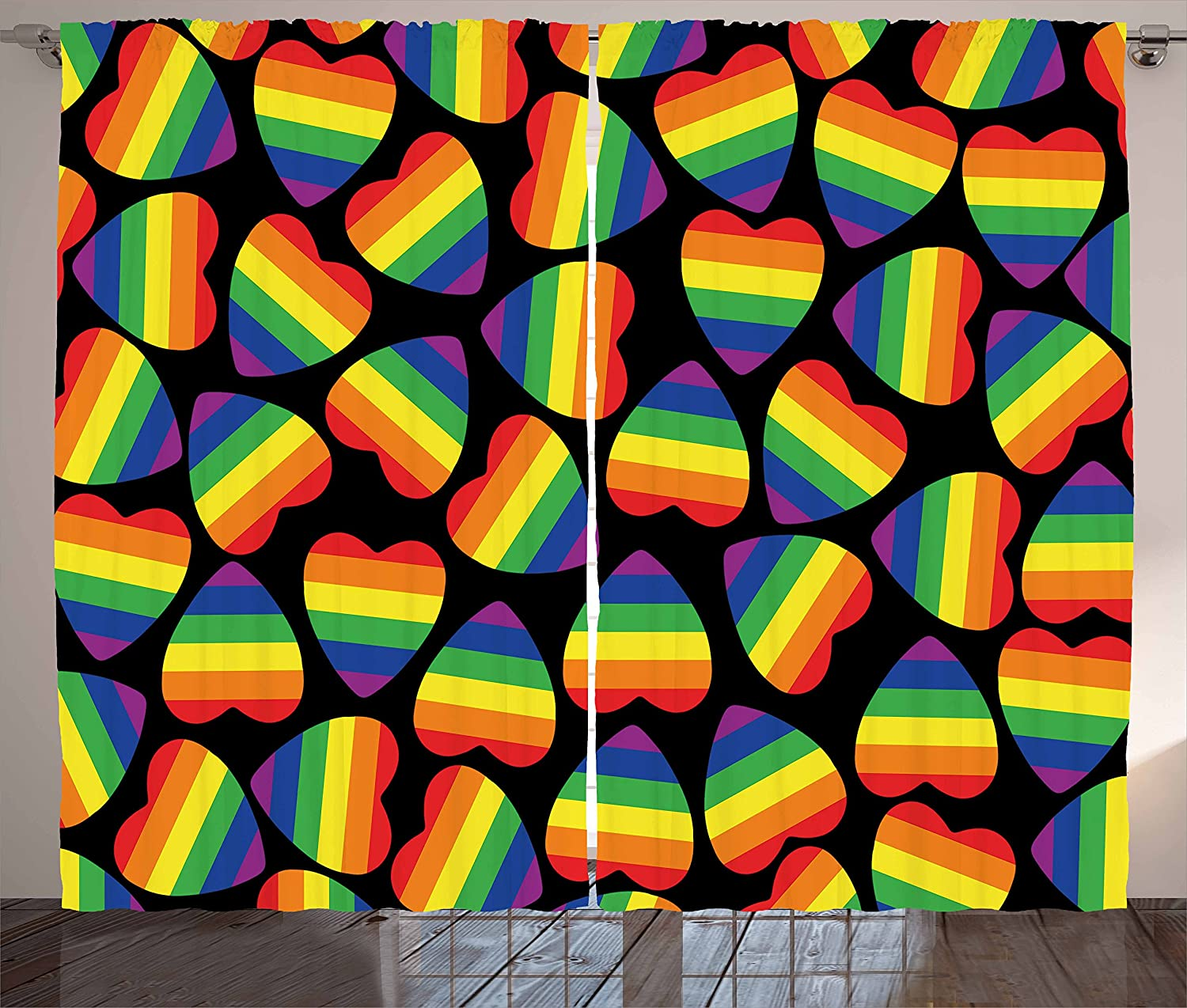 Ambesonne Pride Curtains, Rainbow Colored Striped Heart Shapes on Black Backdrop Gay Lesbian Love Parade Print, Living Room Bedroom Window Drapes 2 Panel Set, 108