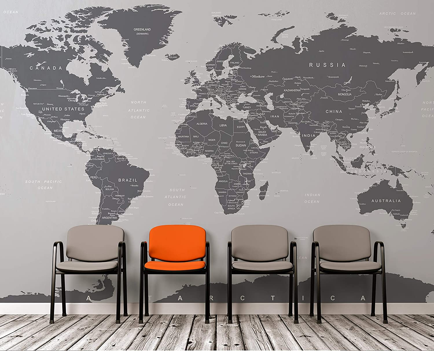 World Map Wall Mural Amazon.com: Large Grey World Map Wall Mural. Simple Peel and Stick