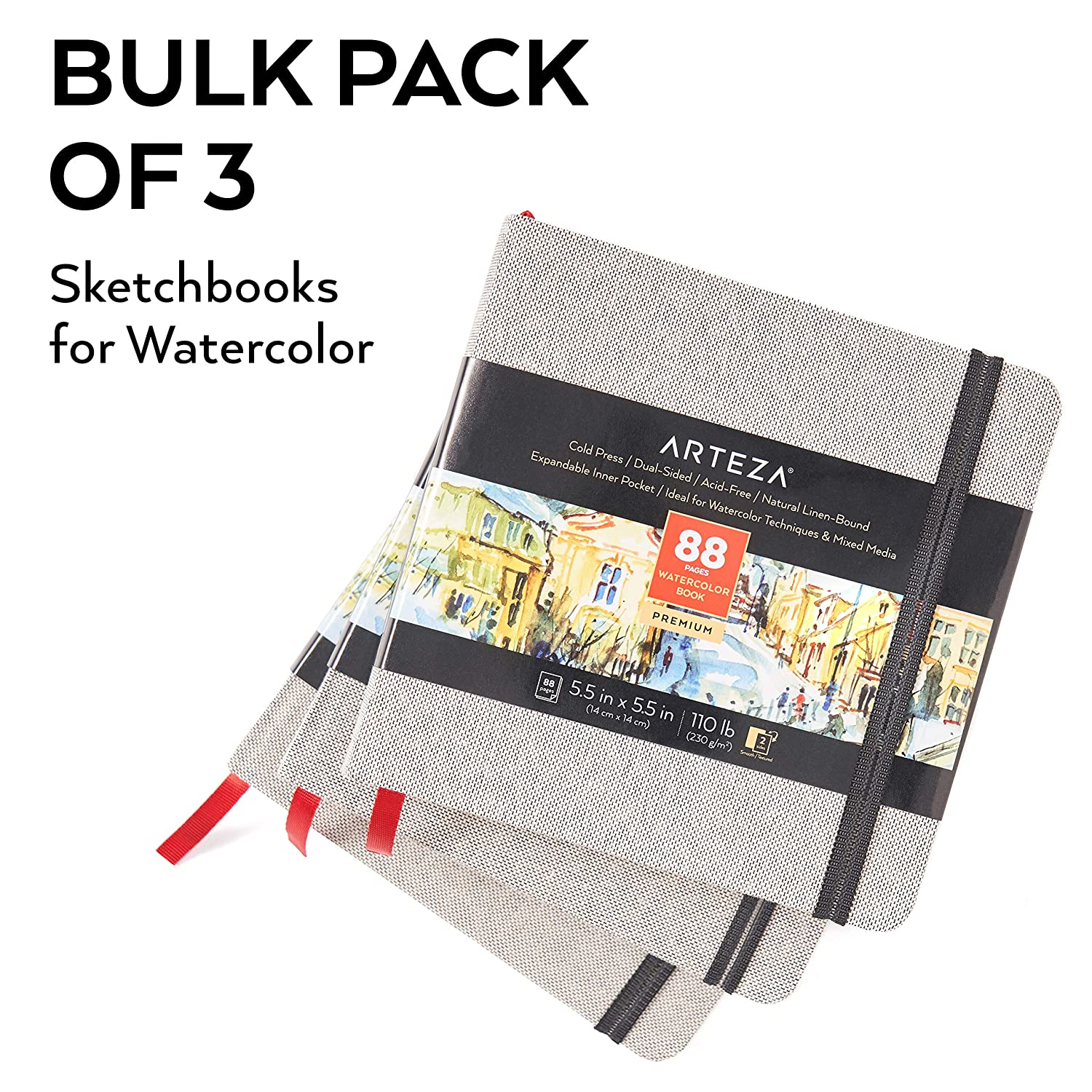 3-Pack 132 Sheets Hardcover 110lb Paper Book Watercolour Sketchbook for Use as Travel Journal and Mixed Media Pad Arteza Watercolour Sketchbooks Beige Art Journal 5.5x5.5-inch