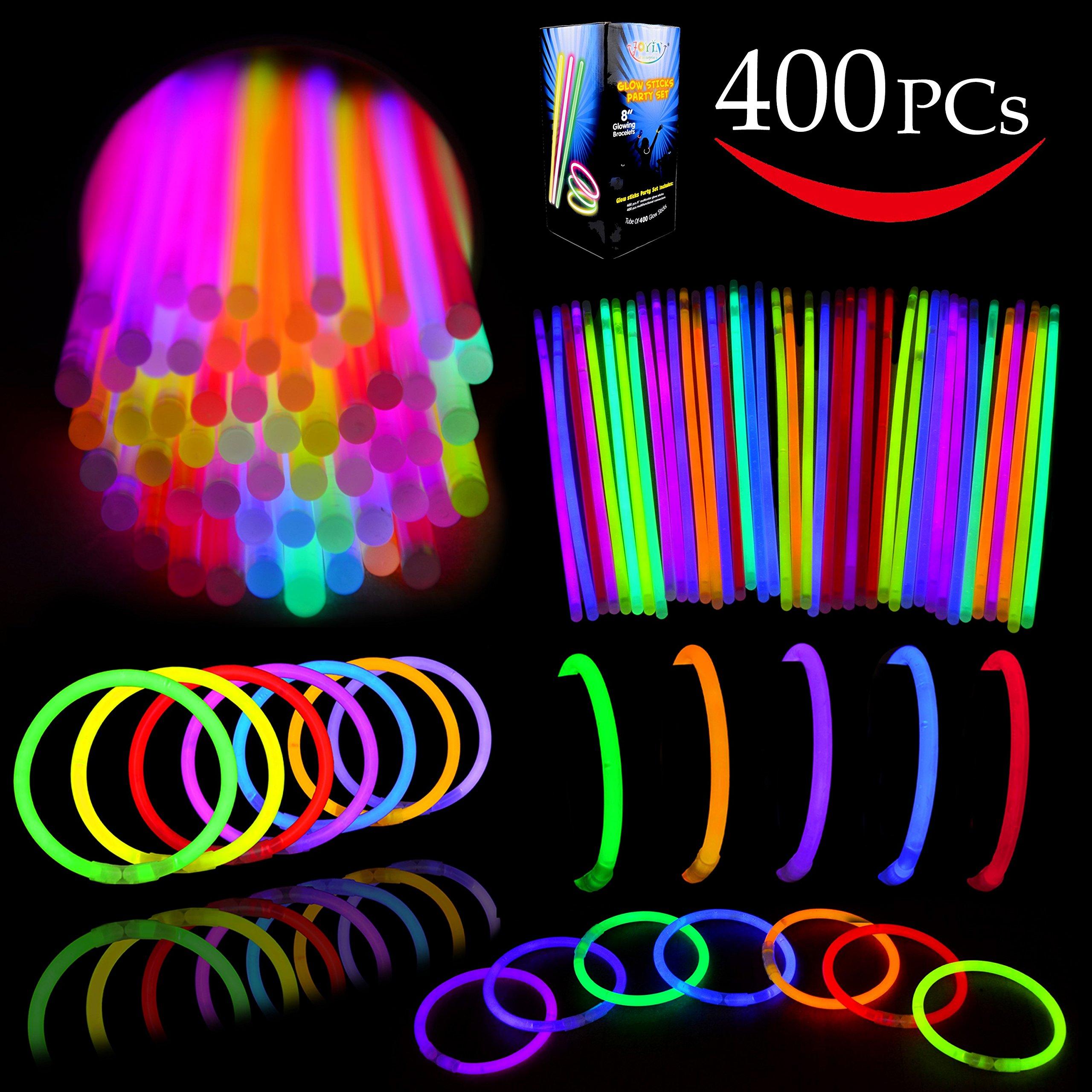 Joyin Toy Glow Sticks Bulk 400 8'' Glowsticks (Total 800 Pcs 7 Colors); Glow Stick Bracelets; Glow Necklaces Party Favors Pack with 400 Bracelet Connectors.
