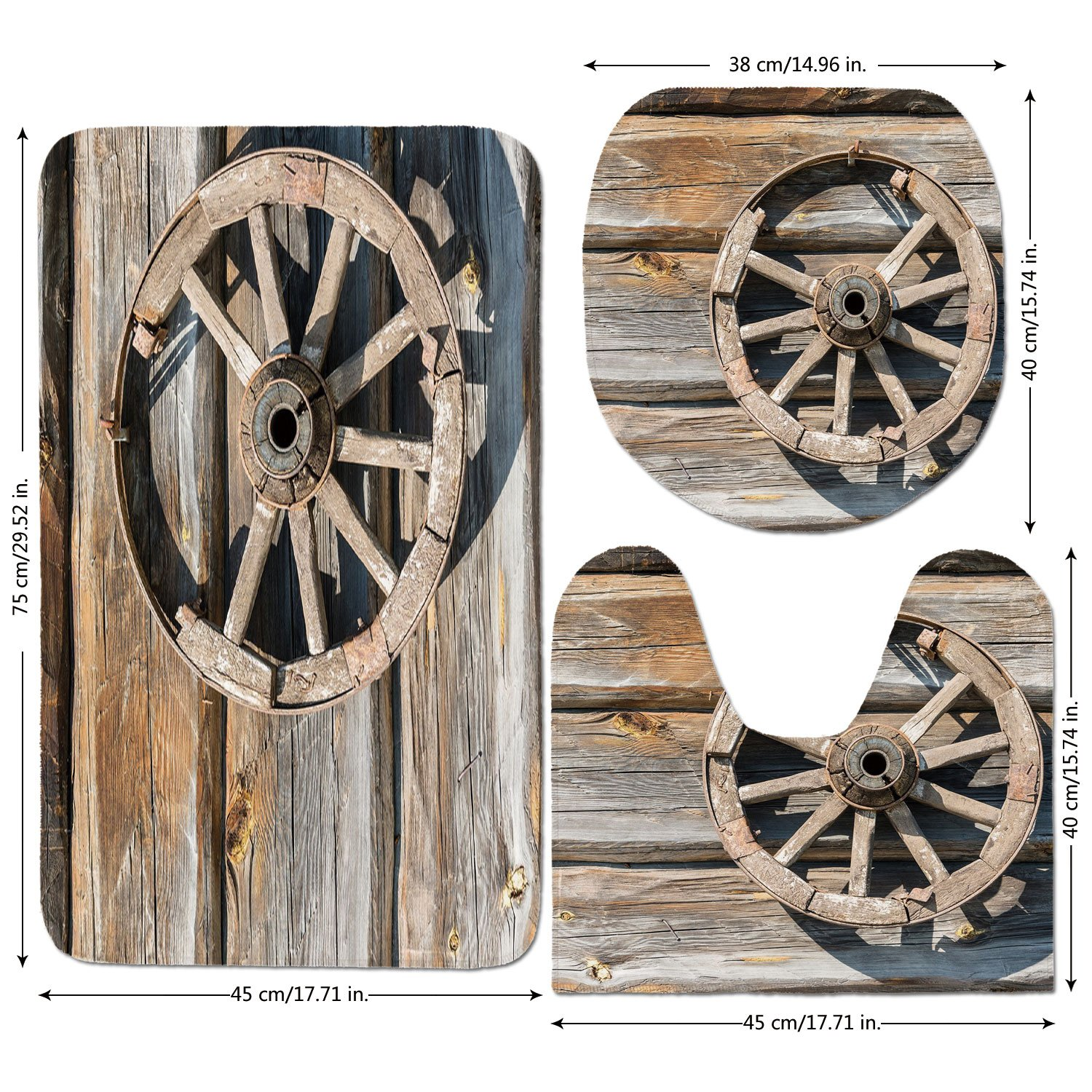 3 Piece Bathroom Mat Set,Barn-Wood-Wagon-Wheel,Old-Log-Wall-with-Cartwheel-Telega-Rural-Countryside-Themed-Image-Decorative,Umber-Beige.jpg,Bath Mat,Bathroom Carpet Rug,Non-Slip