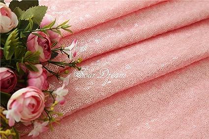 Color rosa Lentejuelas Tela al por mayor moda lentejuelas tela DIY, tela de lentejuelas para