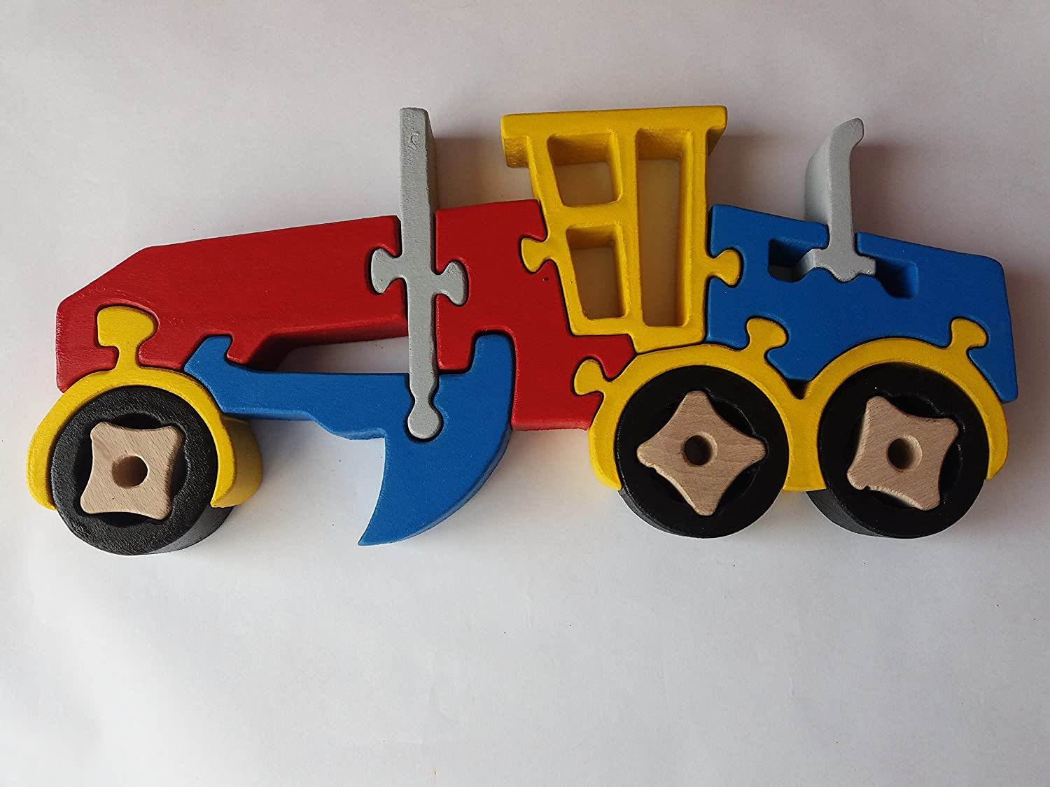 Wooden puzzle grader handmade grader constructions machine massive beech wood toy utility vehicle gift for boys wooden car carrier toy