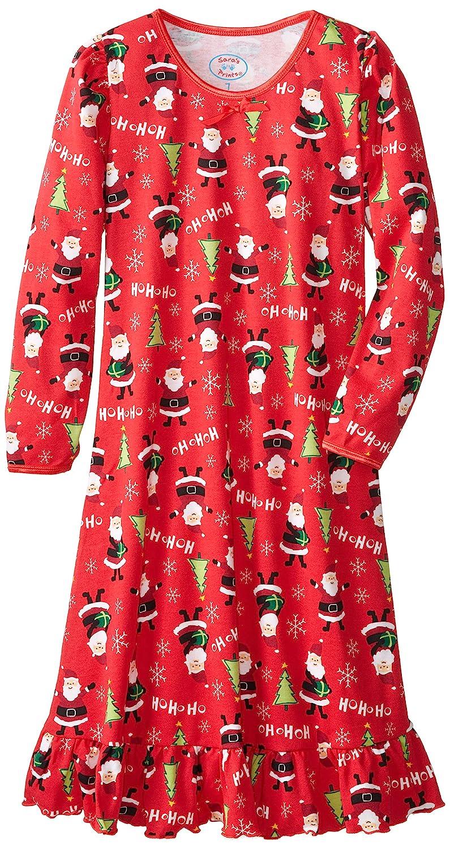 3 Saras Prints Little Girls Puff Sleeve Nightgown Red Santas