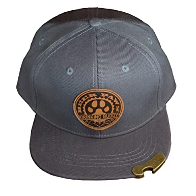 BEER PAWS – Beer Bottle Opener Hat Snapback Flat Bill – Leather (Paw Print  Logo 423635399d