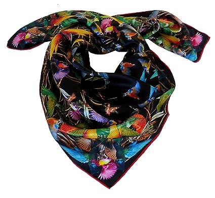 Foulard carré 100% soie roulotté 90 90 motif oiseaux colibris noir rouge  blanc (Noir)  Amazon.fr  Vêtements et accessoires 2d32d365215