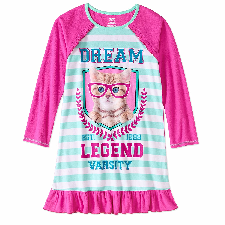 Girls' Graphic Pajama Long Sleeve Nightgown featuring Puppy, Unicorn, Penguin or Emojis Komar Kids