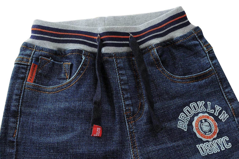 LAPLBEKE Kids Boys Jeans Drawstring Waistband Denim Pants Straight Fit
