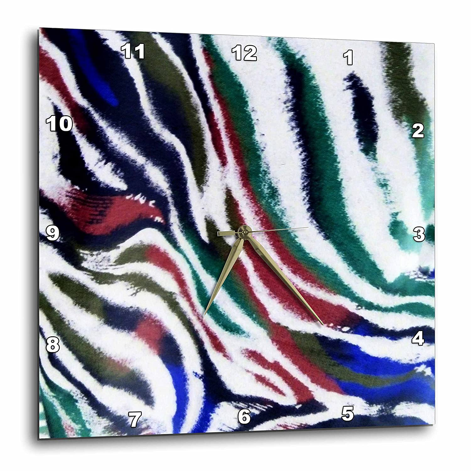 10 by 10-Inch 3dRose dpp/_35026/_1 Red Blue and Green Zebra Pattern-Wall Clock