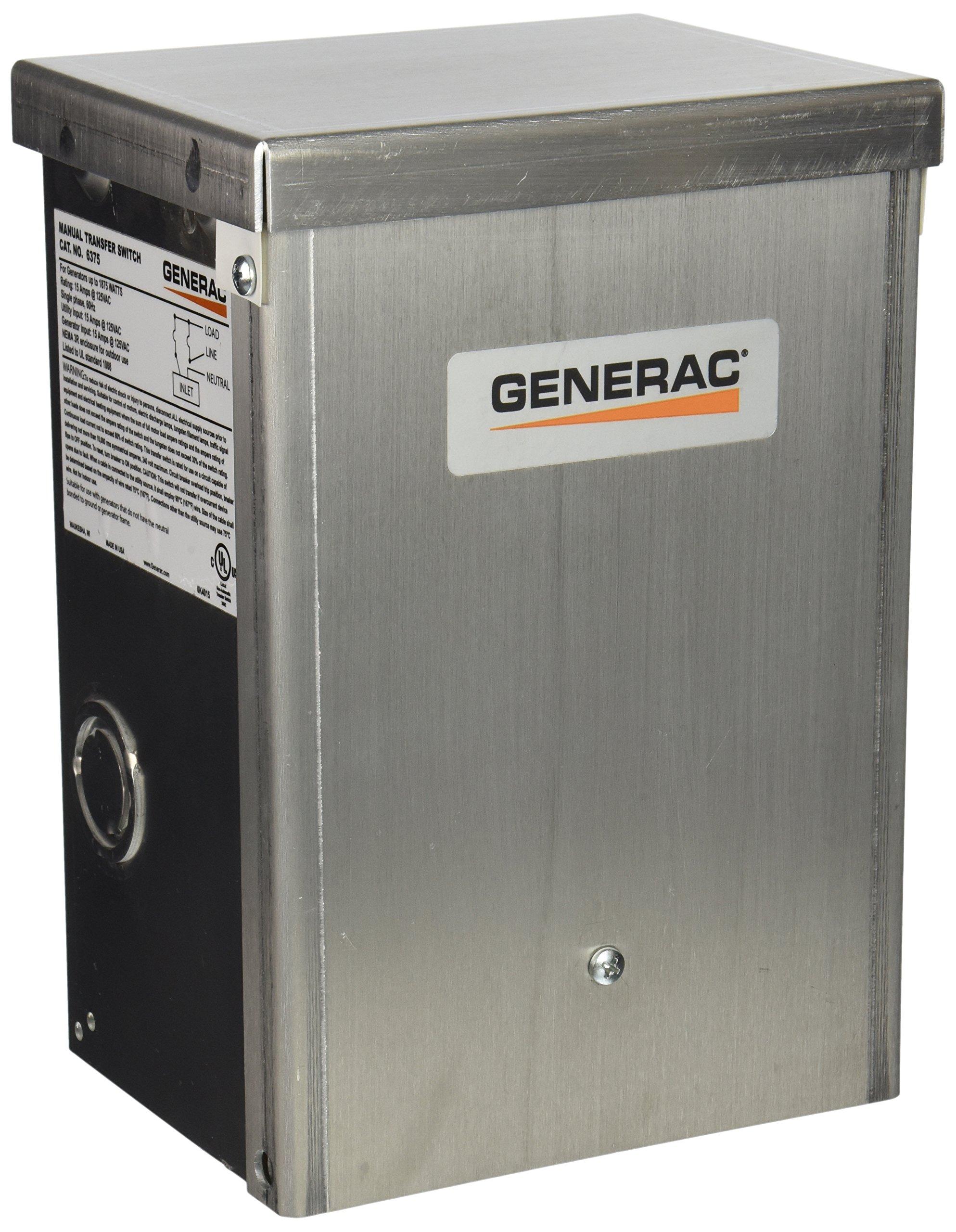 Generac 6375 15-Amp 125V Single-Circuit Outdoor Manual Transfer Switch for Maximum 7,500 Watt Generators by Generac (Image #1)