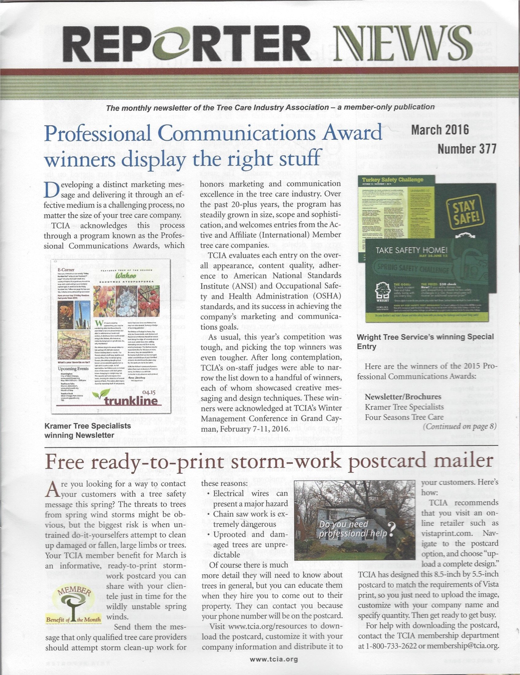 Read Online Reporter news, Tree care association, March 2016: number 377 ebook