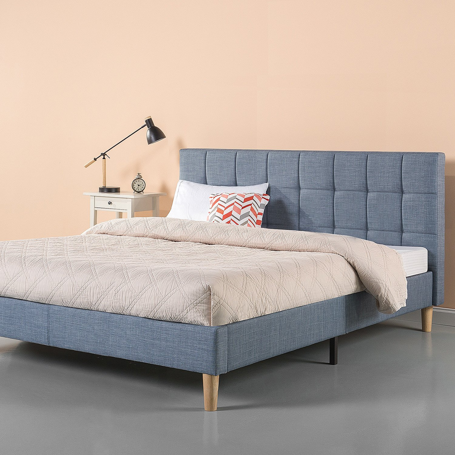 Zinus Lottie Upholstered Square Stitched Platform Bed / Mattress Foundation / Easy Assembly / Strong Wood Slat Support / Blue Slate, King by Zinus