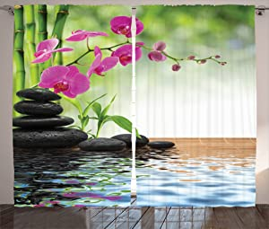 """Ambesonne Spa Curtains, Composition Bamboo Tree Floor Mat Orchid Stones Wellness Greenery, Living Room Bedroom Window Drapes 2 Panel Set, 108"""" X 84"""", Green Dimgray"""