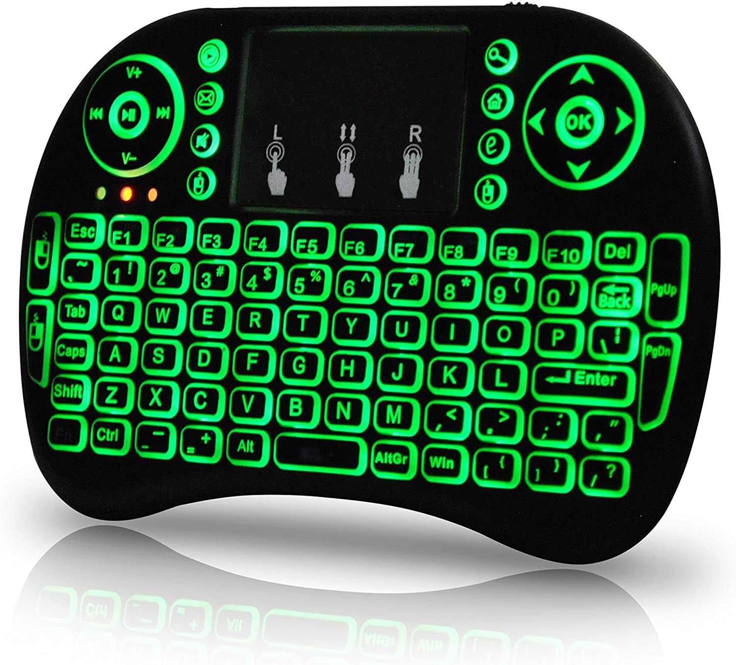 Universal i9 2.4Ghz USB Wireless Keyboard Mouse for Linux Chrome Mac Windows 10 Computer or Android TV Box - Rechargeable Battery - Backlit, Green