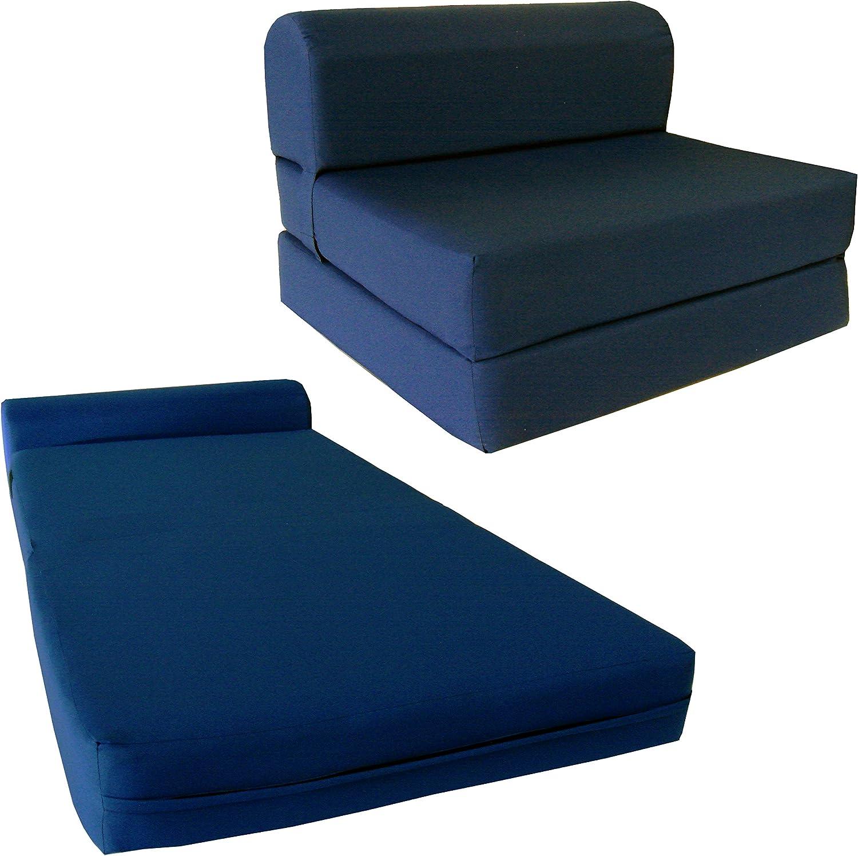 Full Size 4-Foldable Foam Matress Studio Folding Sofa Chair Bed Brown