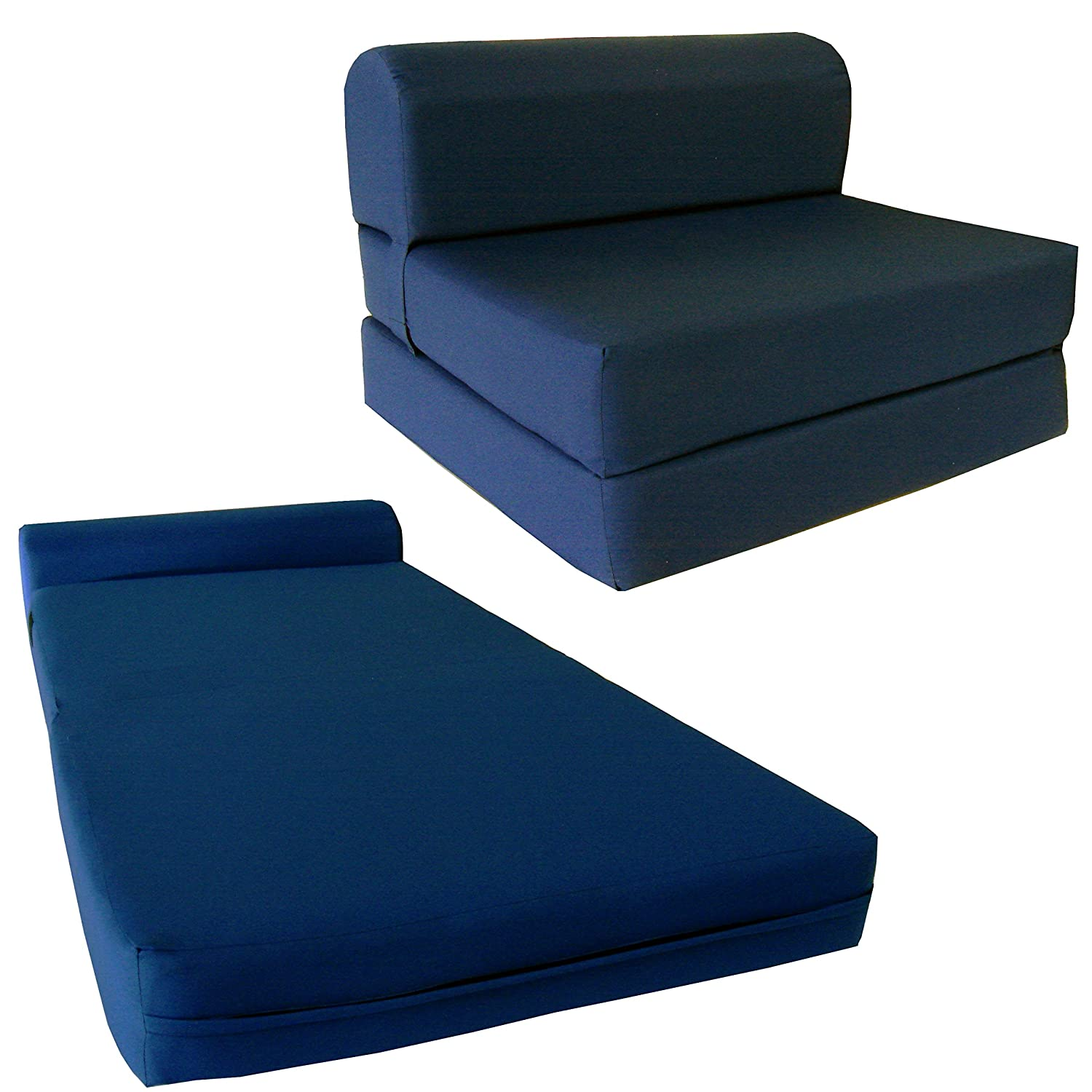 "D&D Futon Furniture Chair Folding Foam Bed, Studio Sofa Guest Folded Foam Mattress (6"" x 24"" x 70"", Navy Blue)"