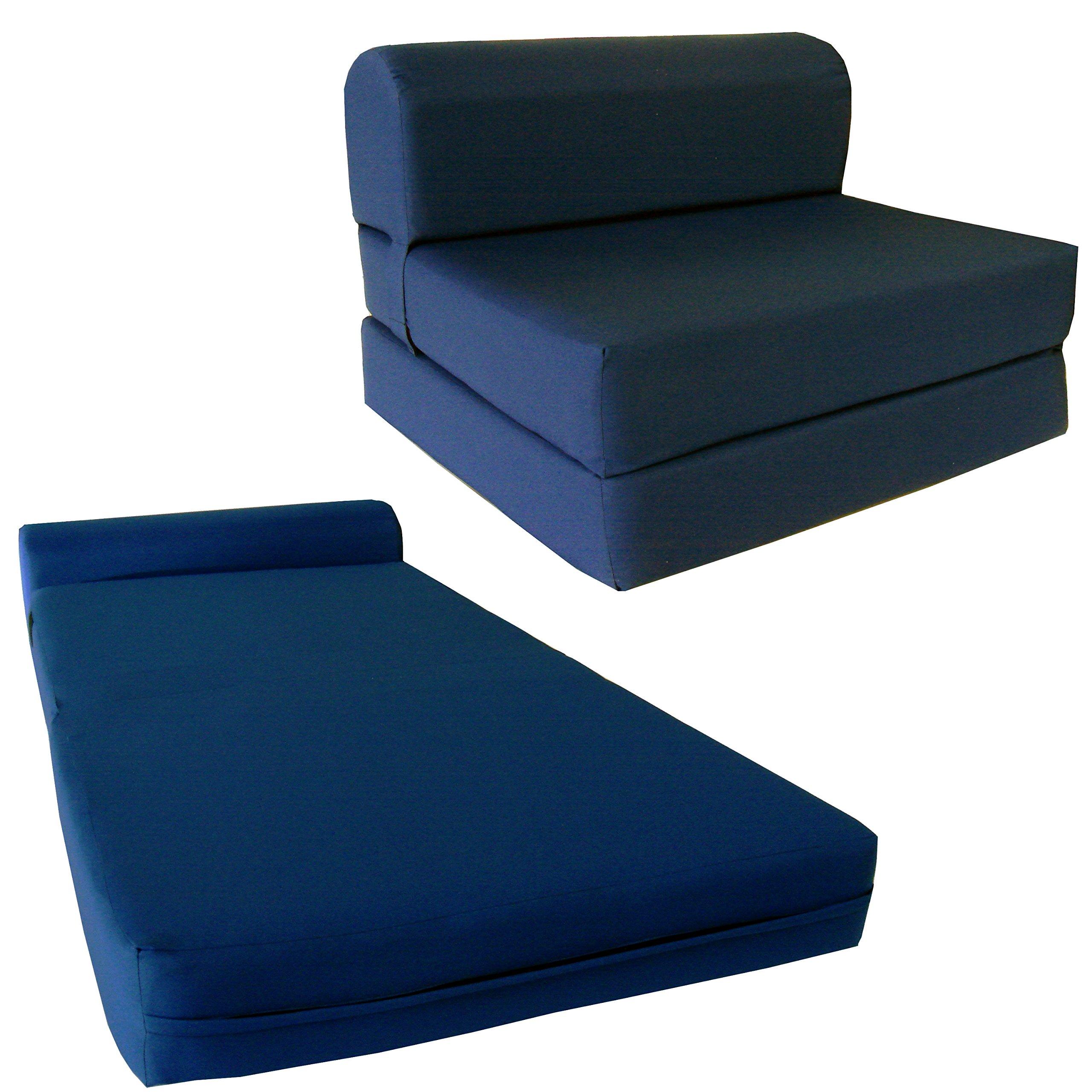 D&D Futon Furniture Chair Folding Foam Bed, Studio Sofa Guest Folded Foam Mattress (6'' x 48'' x 72'', Navy Blue) by D&D Futon Furniture.