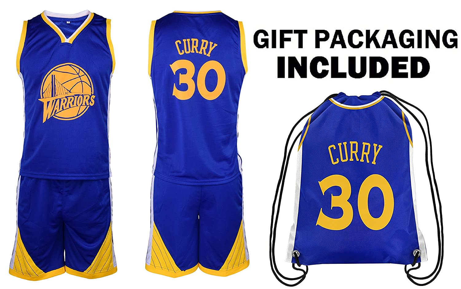 new style 21428 323aa Steph Curry Jersey Kids Basketball Curry Jersey & Shorts Youth Gift Set ✓  Premium Quality ✓ Basketball Backpack GIFT PACKAGING ✓