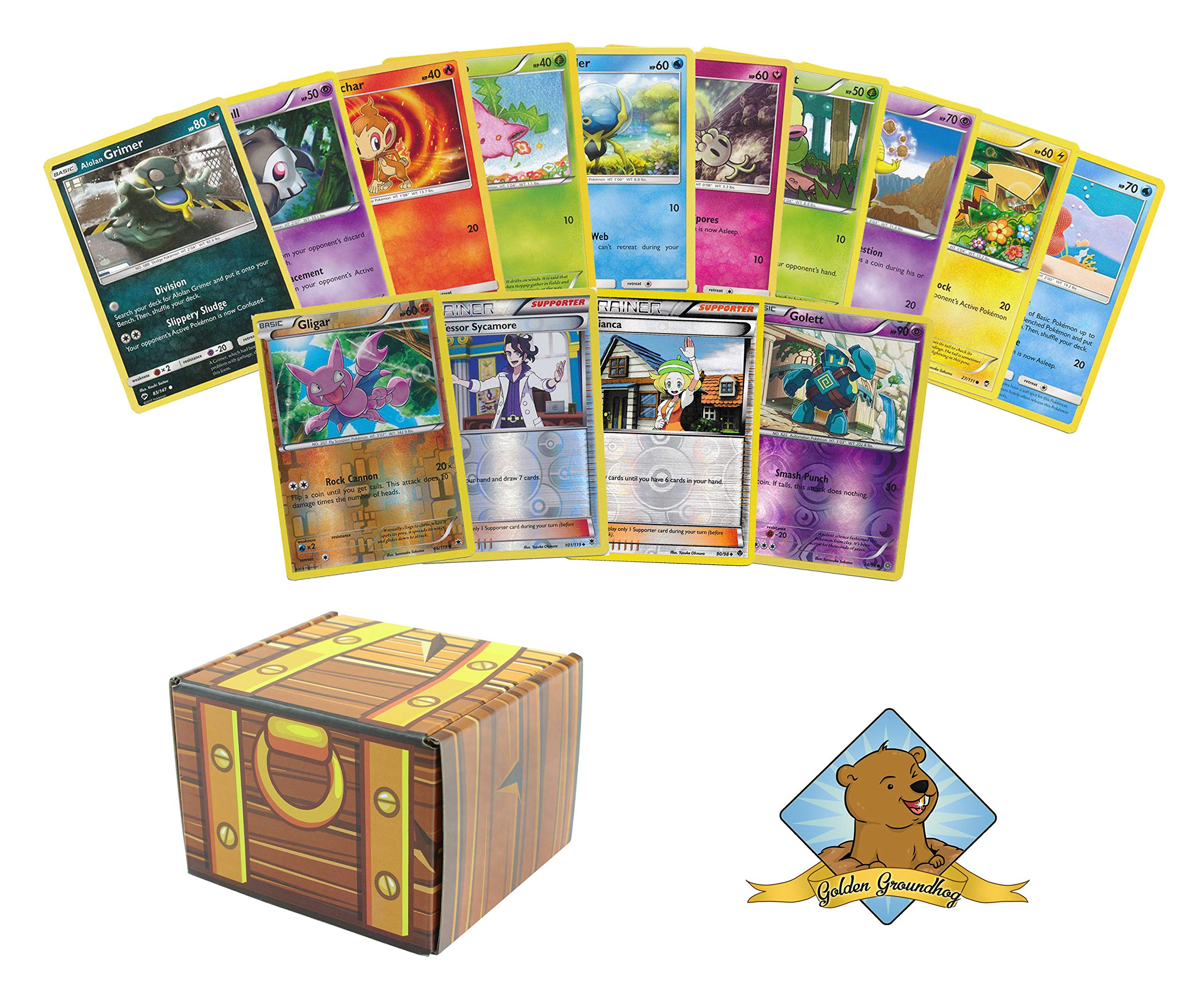 50 Assorted Pokemon Cards 4 Reverse Foils! Includes Golden Groundhog Treasure Chest Box!