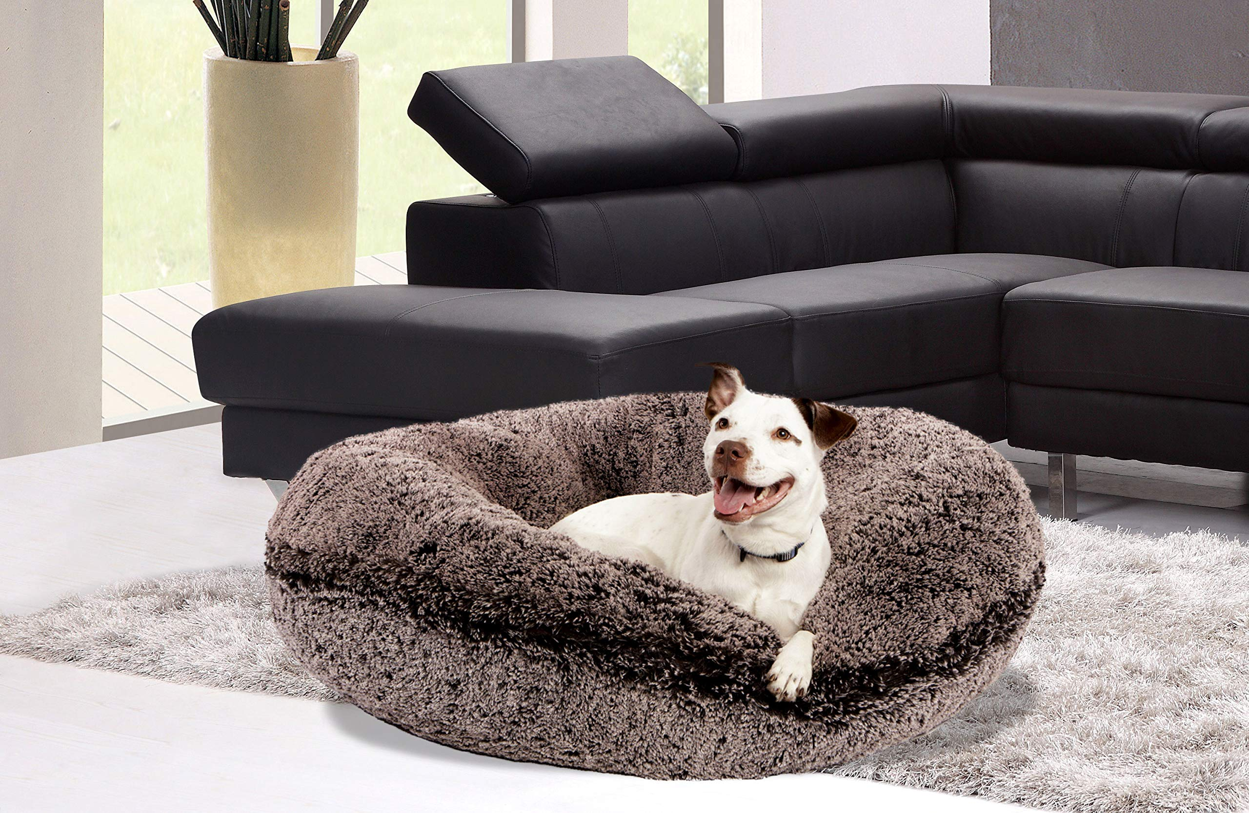 BESSIE AND BARNIE Signature Frosted Willow Luxury Shag Extra Plush Faux Fur Bagel Pet/Dog Bed 3