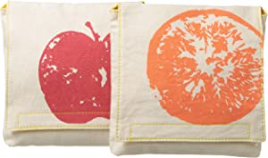Fluf Reusable Snack Bags | Sandwich Bags for Kids |Certified Organic Cotton, & Machine Washable | Set of 2 | Apples & Oranges