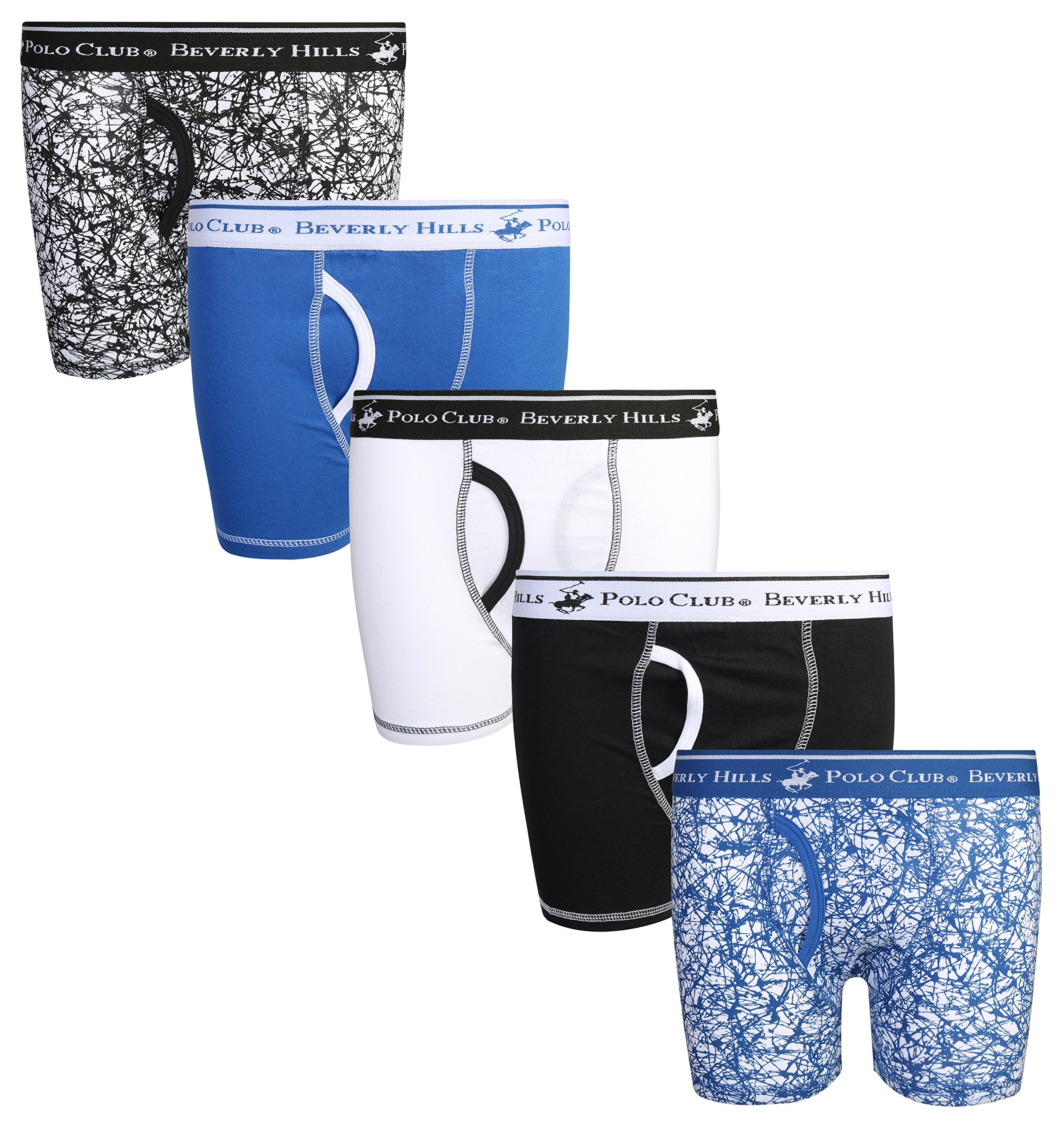 Beverly Hills Polo Club Boys' Solid Boxer Briefs (Pack of 5), Splatter, X-Large/16-18'