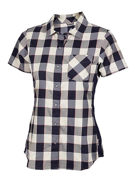 Club Ride Bandara Snap Front Short Sleeve Top - Womens - Navy Plaid - X- 0513a7b9c