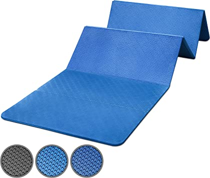 powrx tapis de gym pliable 180 x 60 x 1 5 cm epais et anti derapant bleu ou noir