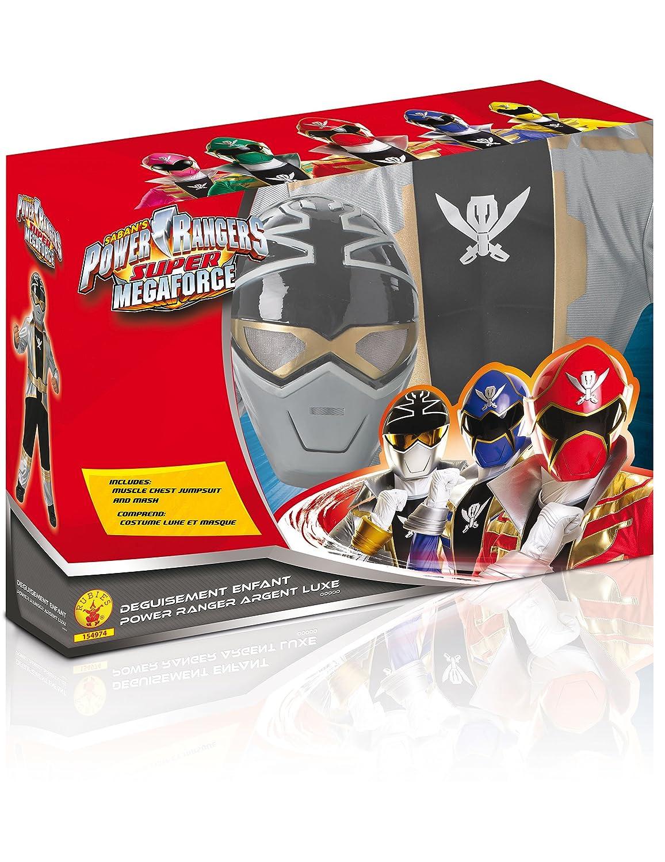 Disfraz 3D EVA Power Rangers Silver super mega force niño - De 5 a 6 años: Amazon.es: Juguetes y juegos