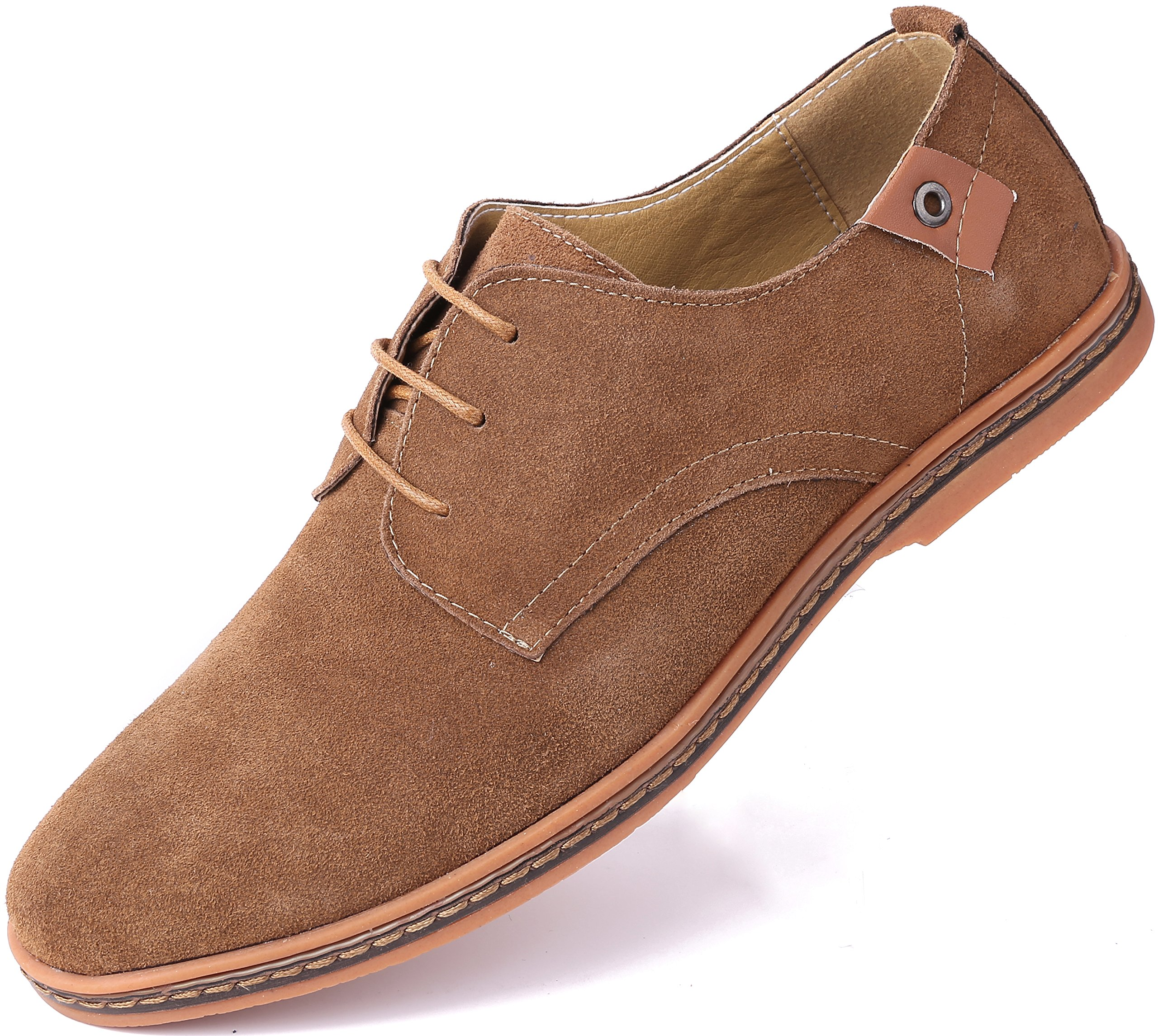Marino Suede Oxford Dress Shoes for Men - Business Casual Shoes - Light Brown- 11 D(M) US