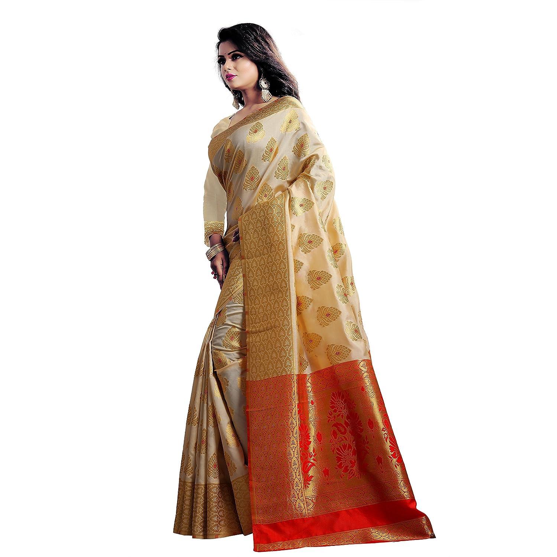 a28336590db3a6 Samvegi Creation Women s Woven Banarasi Art Silk Saree with Blouse Piece ( Beige)  Amazon.in  Clothing   Accessories