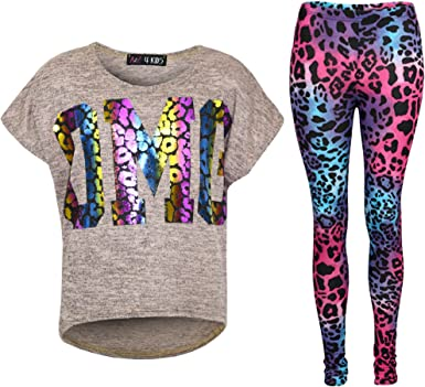 New Girls Tiger Face Print Party Fashion Top T Shirt /& Leopard Legging Set 7-13