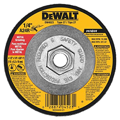 Dewalt DW4523 10 Pack 4-1/2-Inch by 1/4-Inch by 5/8-Inch General Purpose Metal Grinding Wheel: Automotive