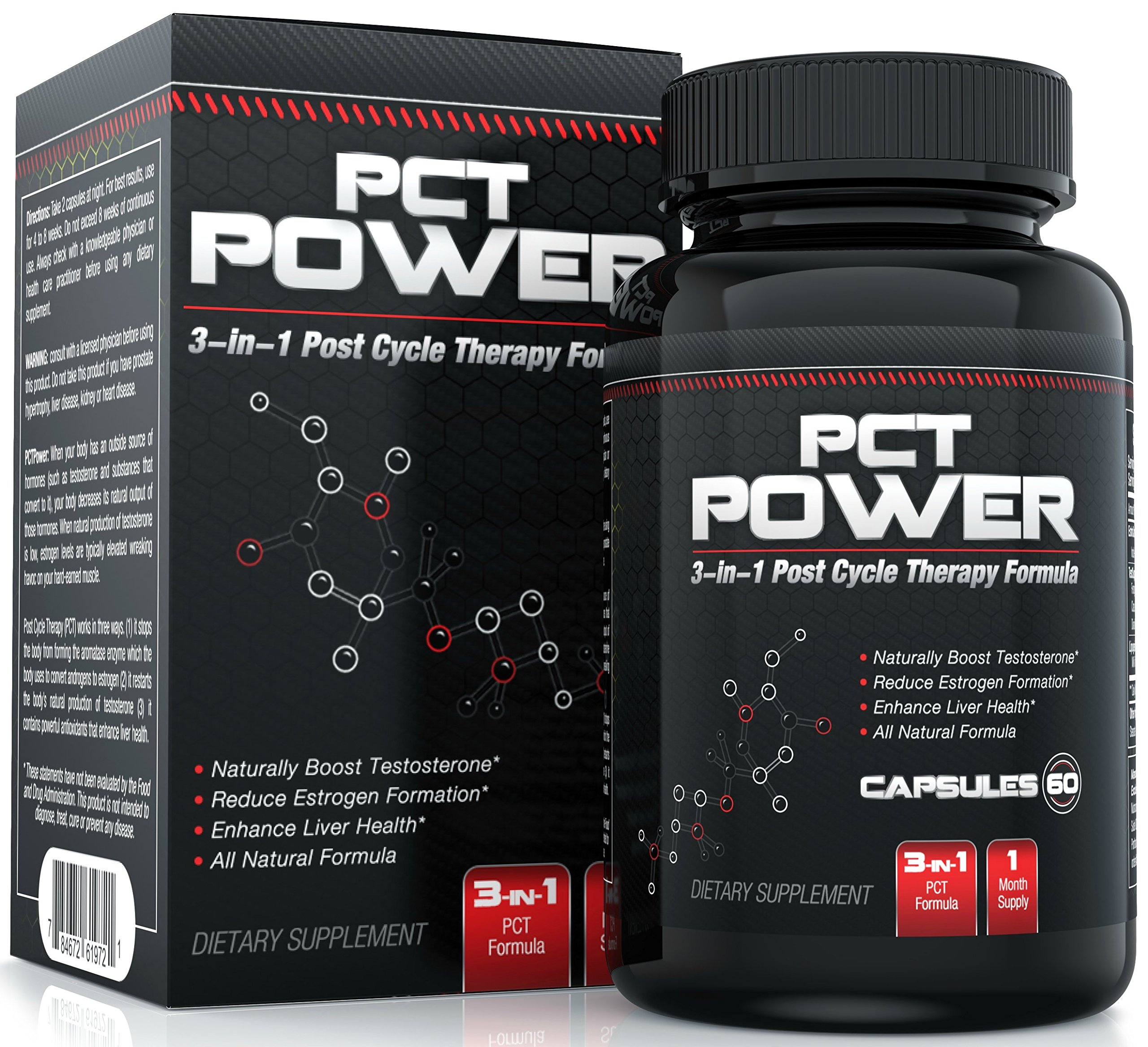#1 Post Cycle Therapy Supplement - 3-in-1 PCT Supplement with Estrogen Blocker, Testosterone Booster and Liver Support - Contains Fenugreek, Chrysin, Milk Thistle, Tongkat Ali and More - 60 Caps