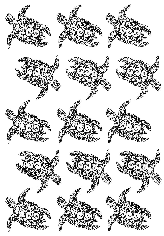 Black 16CC672 Fused Glass Decals Sea Turtle 1