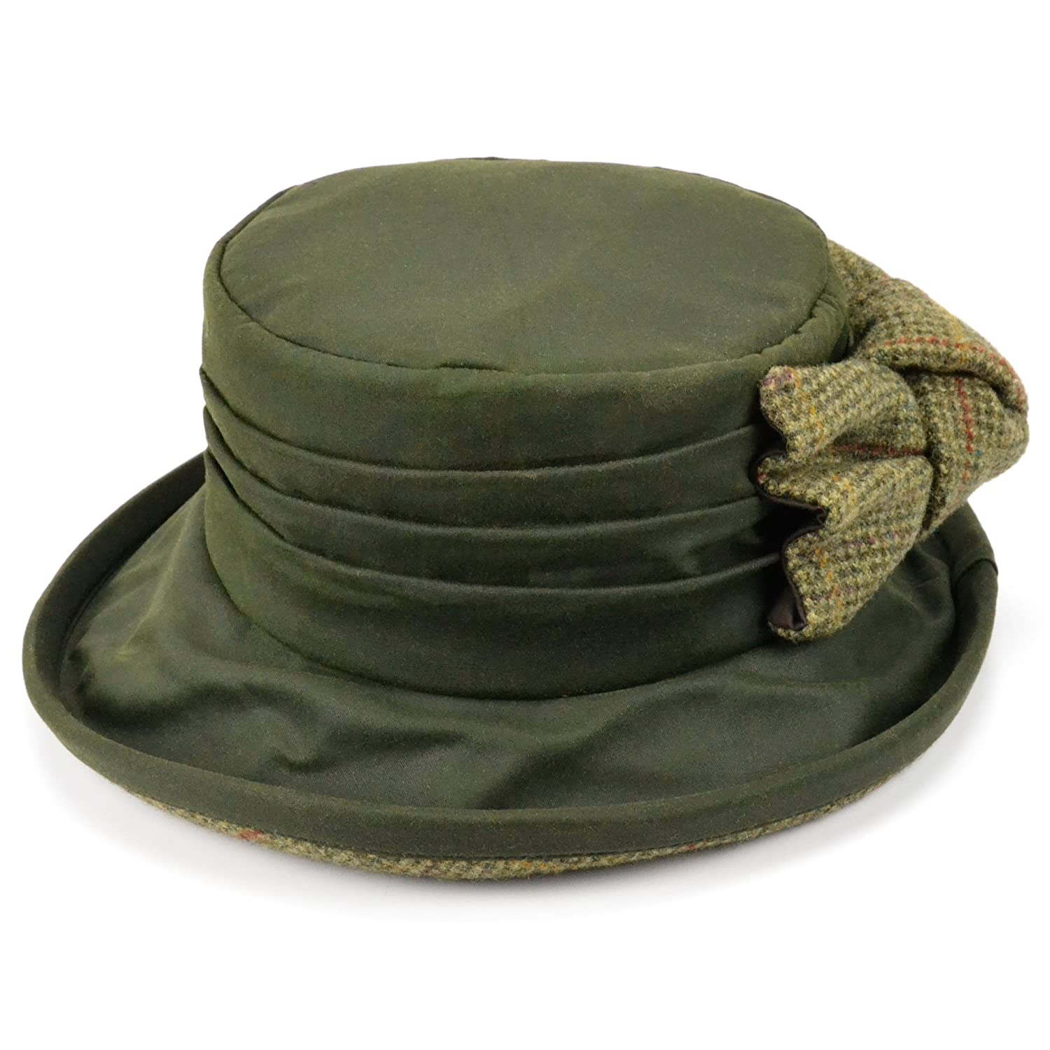 ANTHONY GRAHAM Ladies olive green wax brim hat with large tweed bow and lining