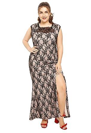 Amazon.com: Myfeel Plus Size Elegant Lace Dress Fishtail Mermaid ...